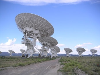 A view of the Very Large Array, one of several radio telescope observatories around the world.