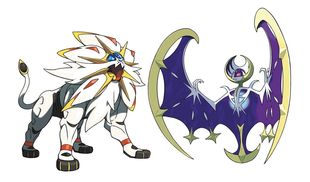 Solgaleo (left) and Lunala (right) are two of the newest Legendary Pokémon.