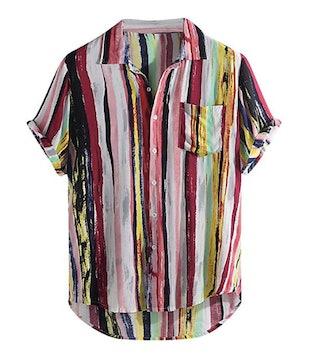 Men's Summer V Neck Shirts Casual Short Sleeves Color Block Stripes