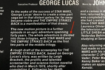Liner notes for the 1980 'Empire Strikes Back' soundtrack album