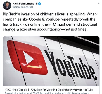 blumenthal google youtube privacy fine ftc