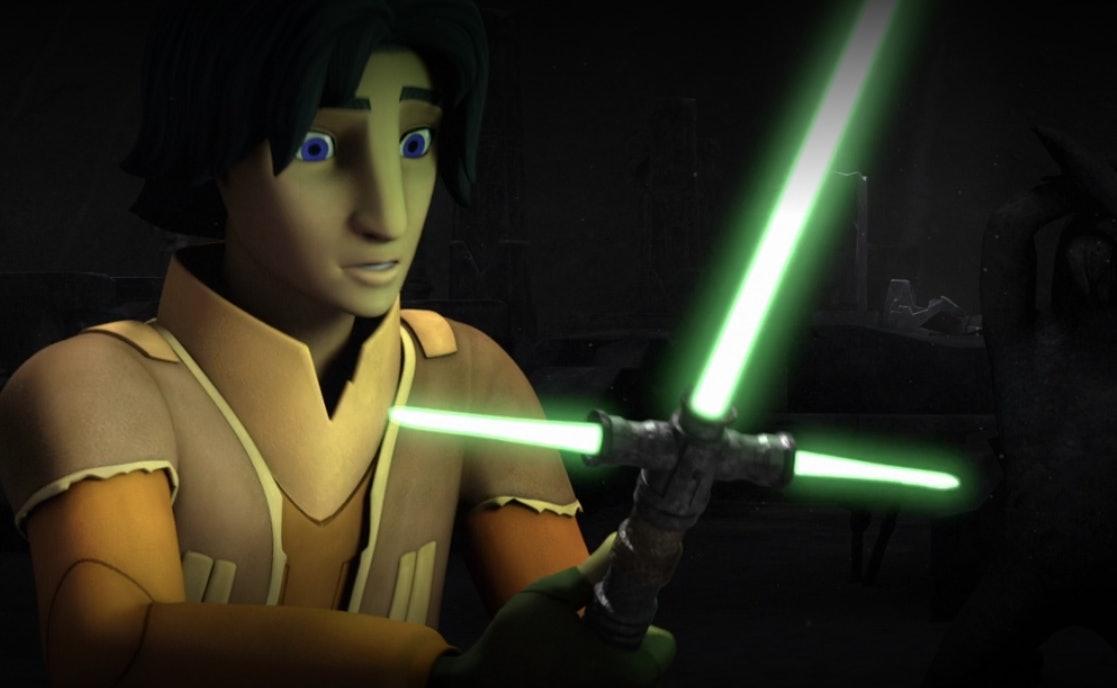 Ezra finds a crossguard saber on Malachore