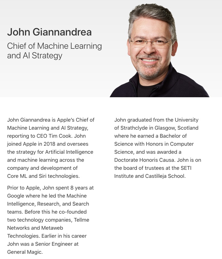 john giannandrea announced as apple's chief of machine learning and a.i. strategy