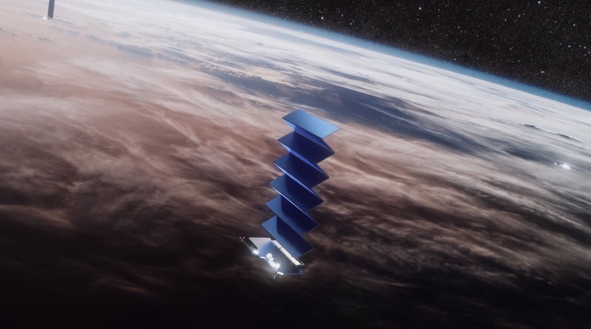 A SpaceX Starlink satellite unfolding.