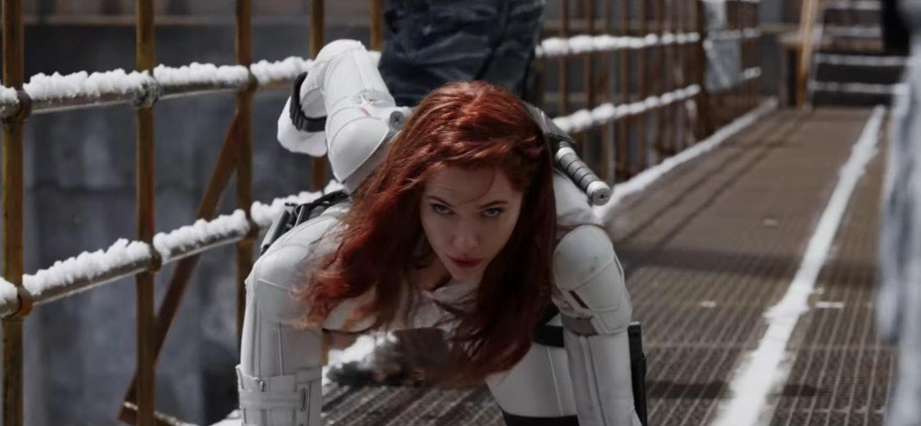 'Black Widow' white suit trailer breakdown