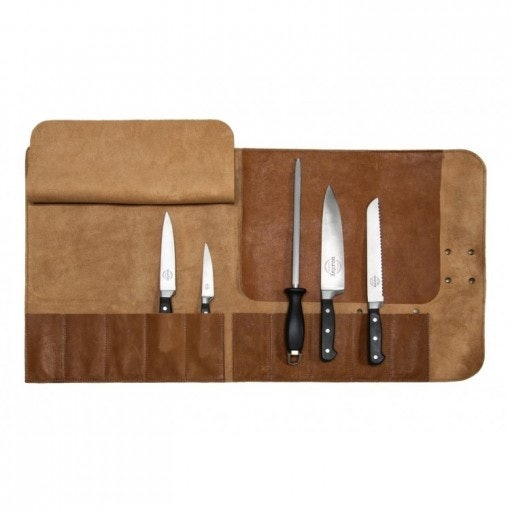 Knives in a leather holder.