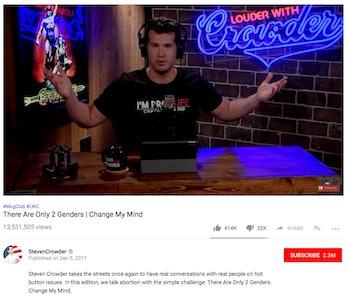 A screenshot of Crowder's video on Youtube.