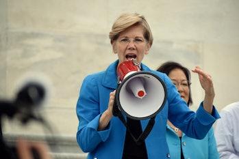 WASHINGTON, DC -- JULY 25 2016: Senators addresses crowds outside the Capitol protesting the GOP hea...