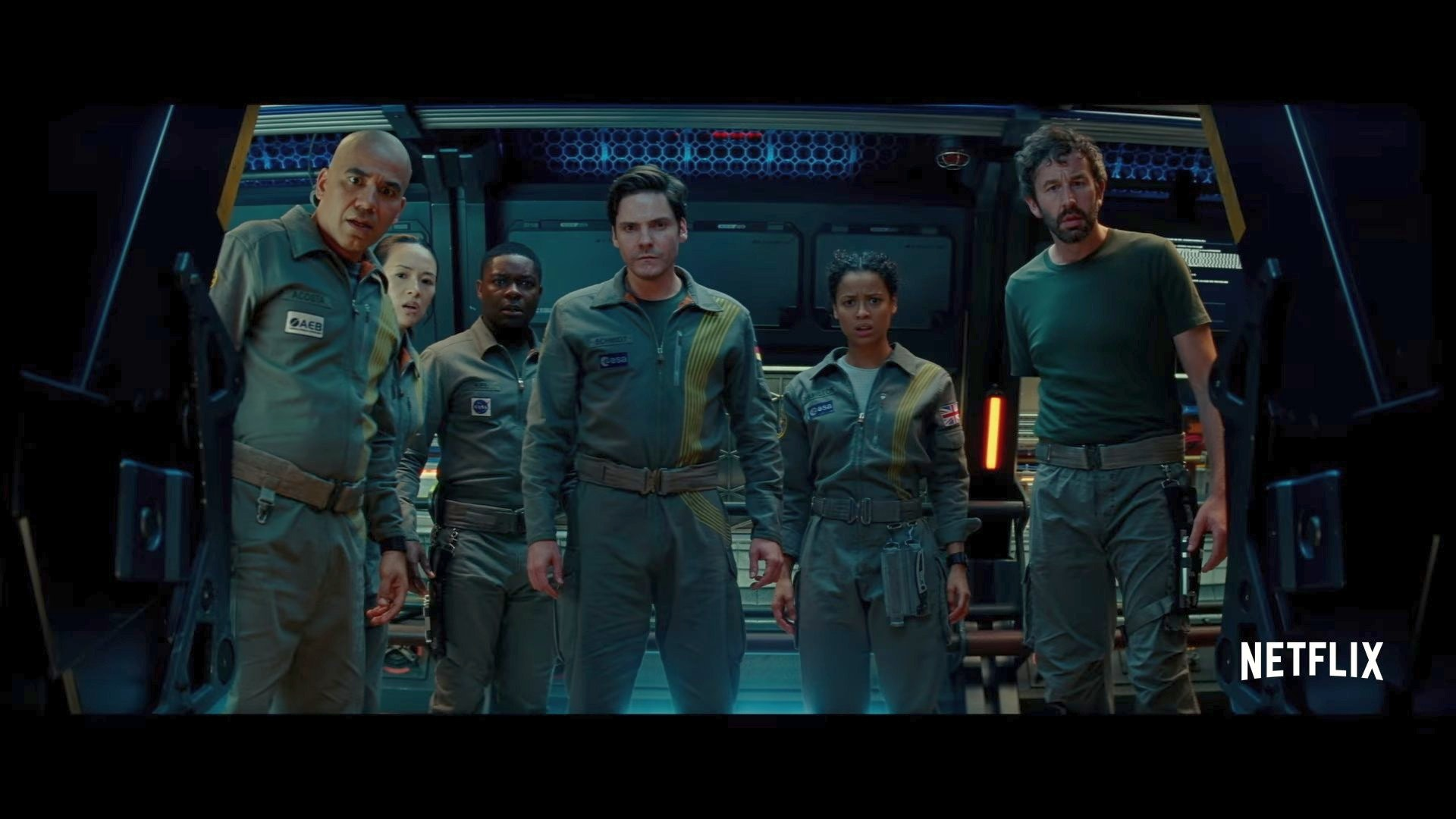 The crew of 'Cloverfield Station'.