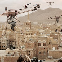 Watch an Octocopter Drone Fire Assault Rifles From the Air