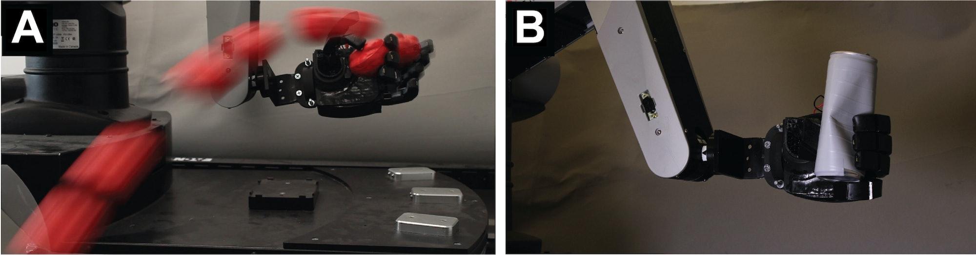 robotic hand catching ball crushing can