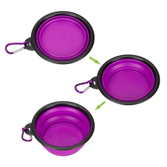 IDEGG Portable Silicone Pet Bowl, Foldable Expandable Water Feeding Travel Bowl Cup Dish for Pet Dog Cat