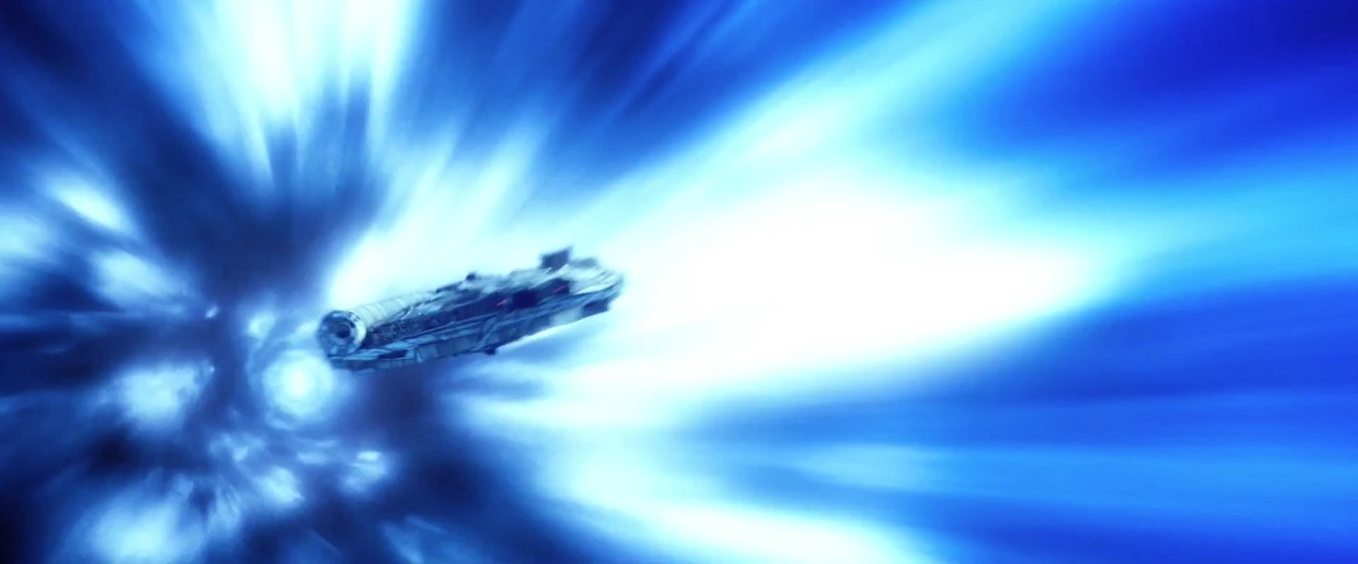 TheMillennium Falcon in hyperspace in 'The Force Awakens'