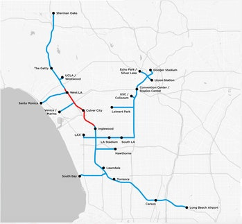 The Boring Company's initial proof-of-concept tunnel is depicted in red, while the blue lines repres...