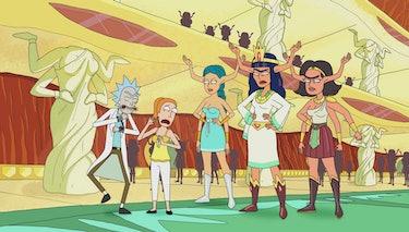 "Rick and Summer on planet Gazorpazorp in ""Raising Gazorpazorp."""