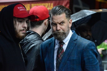 NEW YORK, NY - APRIL 25: Activist Gavin McInnes takes part in an Alt Right protest of Muslim activist Linda Sarsour on April 25, 2017 in New York City. (Photo by Stephanie Keith/Getty Images)