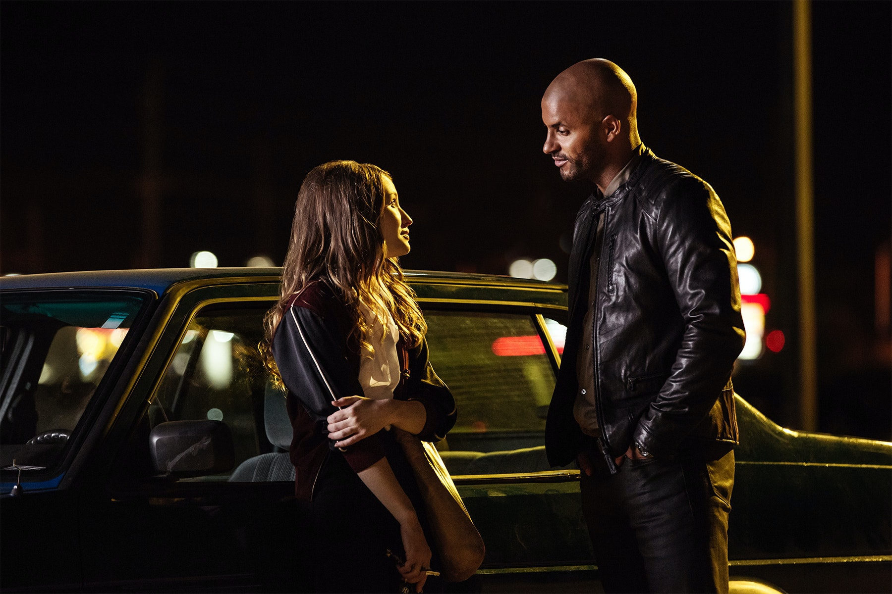 Ricky Whittle and Emily Browning in 'American Gods' Episode 4
