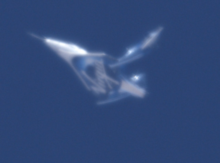 An image of the VSS Unity flying in the 'feather' configuration.