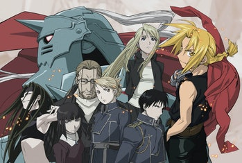"Much of the core cast in the animated 'Fullmetal Alchemist"" with Ed on the far-right and Alphonse in the background."