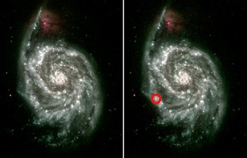 On the left is an ultraviolet composite made from several images of the Whirpool Galaxy (M51) taken ...