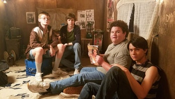 Farraday (Cory Gruter-Andrew), Davey (Graham Verchere), Woody (Caleb Emery), and Eats (Judah Lewis) in 'Summer of '84'.