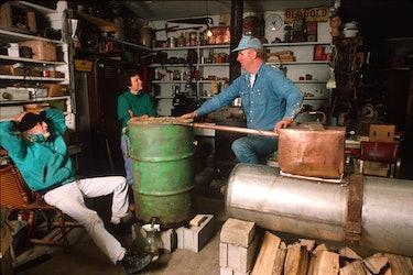 Former moonshiner John Bowman explaining the workings of a moonshine still American Folklife Center