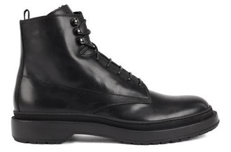 HUGO BOSS LACE UP BOOTS IN LEATHER WITH SHEARLING LINING