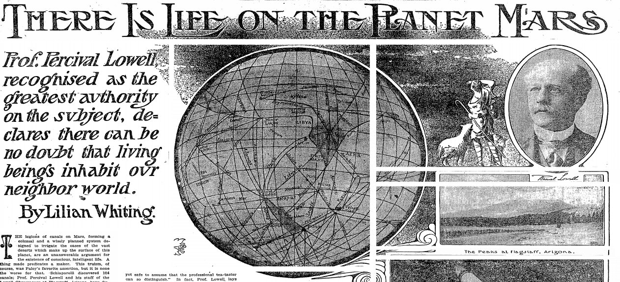 A clipping of the Times article claiming there was life on Mars.