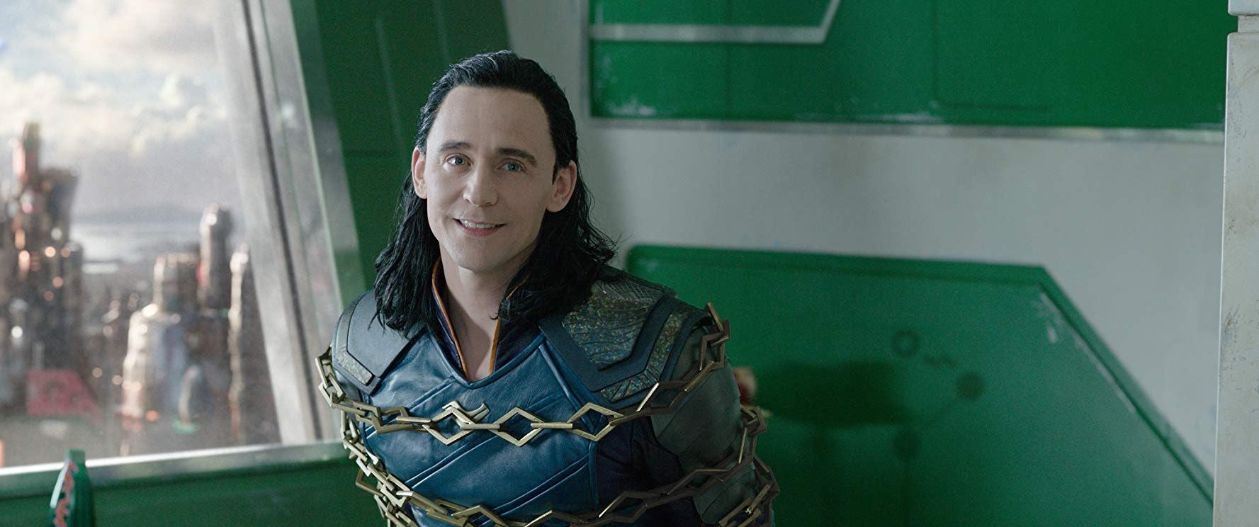 Tom Hiddleston as captured Loki in Thor: Ragnarok