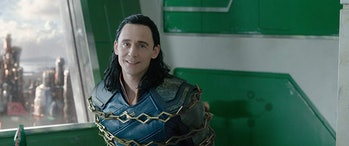 Tom Hiddleston as captured Loki in Thor: Ragnarok