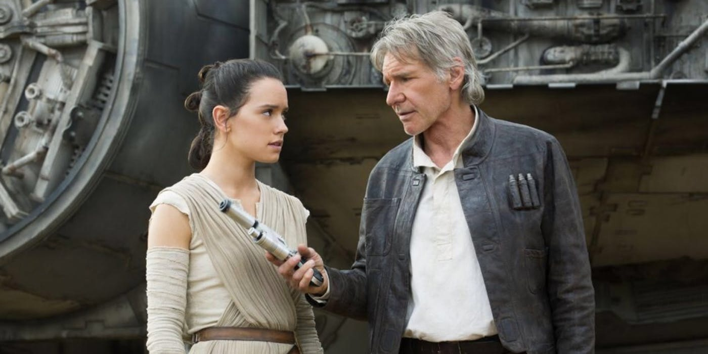 Rey and Han Solo in 'The Force Awakens'.