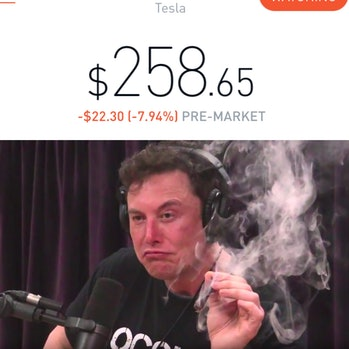 This is just Tesla's stock price above the unaltered image.