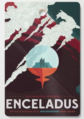 NASA Retro Space Travel Poster #3 - Enceladus Cutting Board
