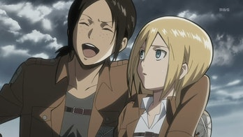 Ymir flirting with Christa in a tense moment from Season 1.