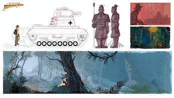 Patrick Shoenmaker's tank concept artfrom 'The Adventures of Indiana Jones'
