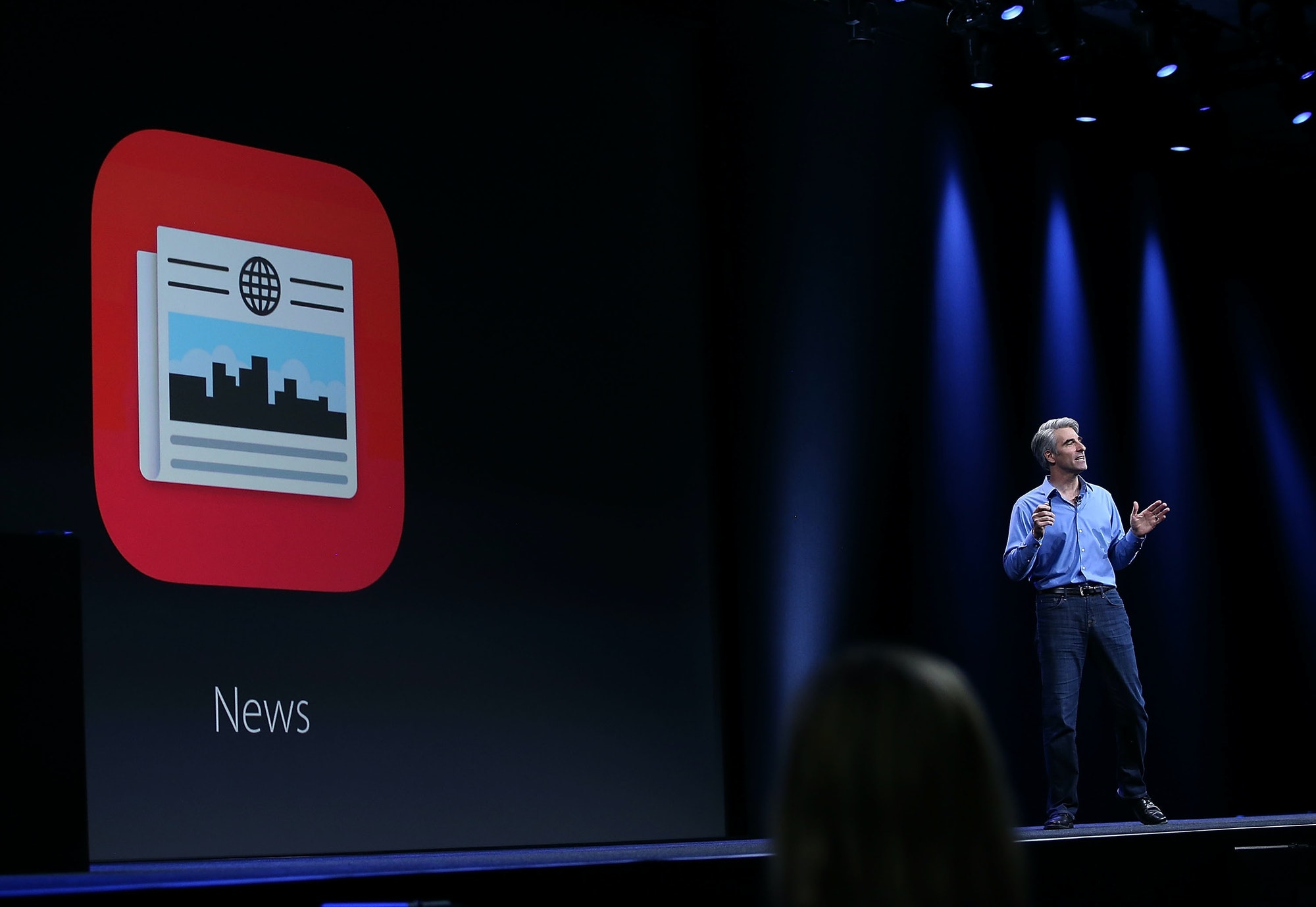 Craig Federighi, Apple senior vice president of Software Engineering, introducing the News app in 2015.