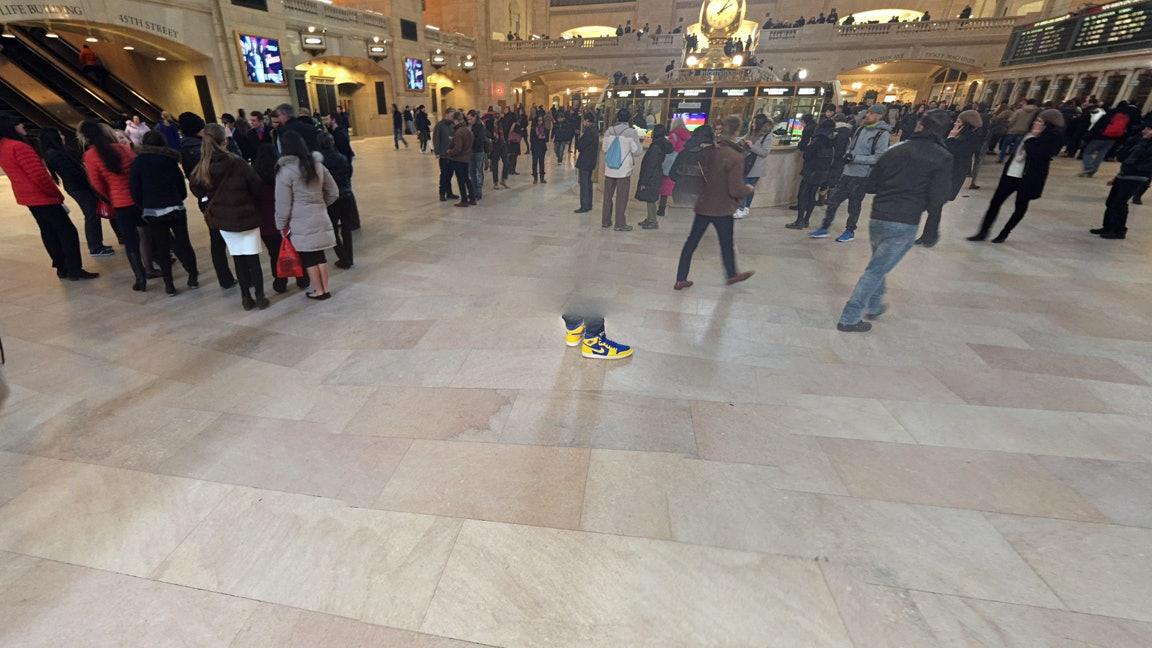 Nikes erased man Google Street View camera interior Grand Central New York City