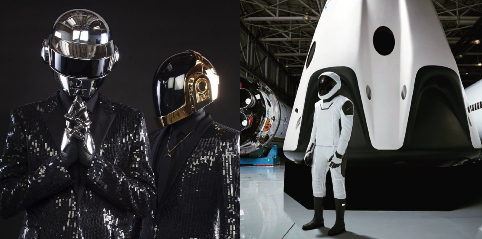 On the left, Daft Punk. The right, SpaceX.