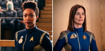 Sonequa Martin- Green as Commander Michael Burnham and Jayne Brook as Admiral Cornwell in the season one finale of 'Star Trek: Discovery'
