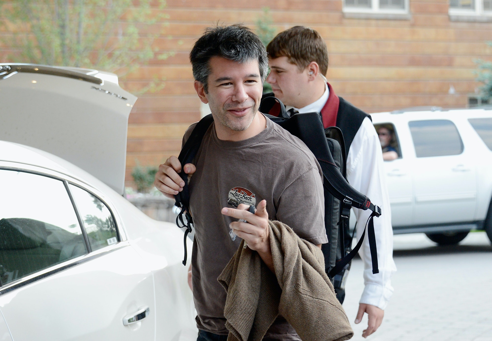 SUN VALLEY, ID - JULY 10: Travis Kalanick, CEO and Co-Founder of Uber, arrives for the Allen & Company Sun Valley Conference on July 10, 2012 in Sun Valley, Idaho. Warren Buffett, Bill Gates and Mark Zuckerberg have been invited to attend the conference which begins Tuesday. (Photo by Kevork Djansezian/Getty Images)