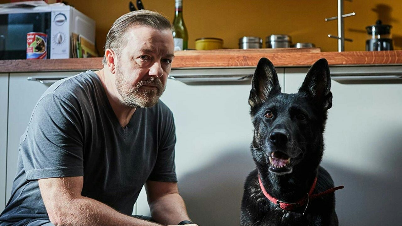 Ricky Gervais with dog in 'After Life' on Netflix