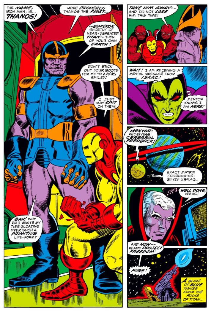 The first appearance of Thanos, as seen in 'The Invincible Iron Man,' #55.