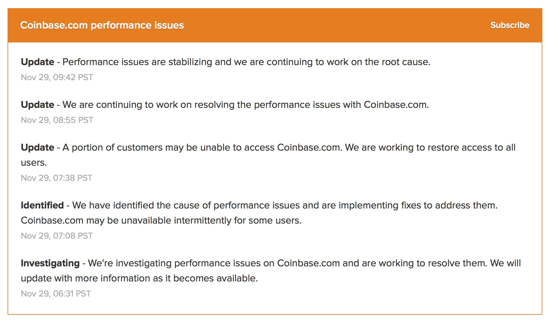 Coinbase's status updates.