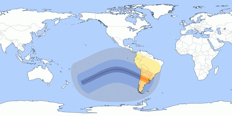 The path of the July 2019 South Pacific solar eclipse