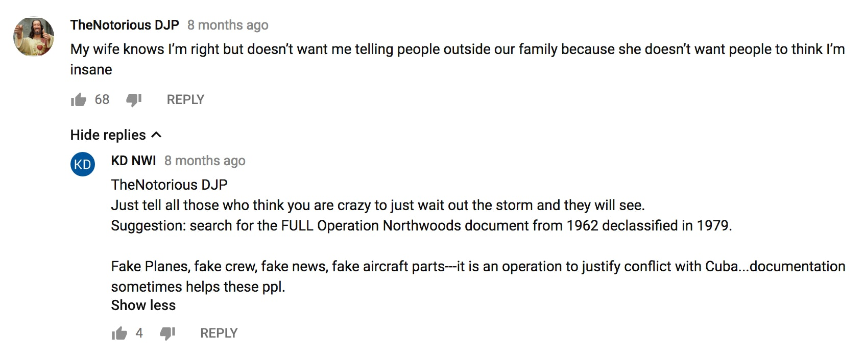 A YouTube comment about QAnon
