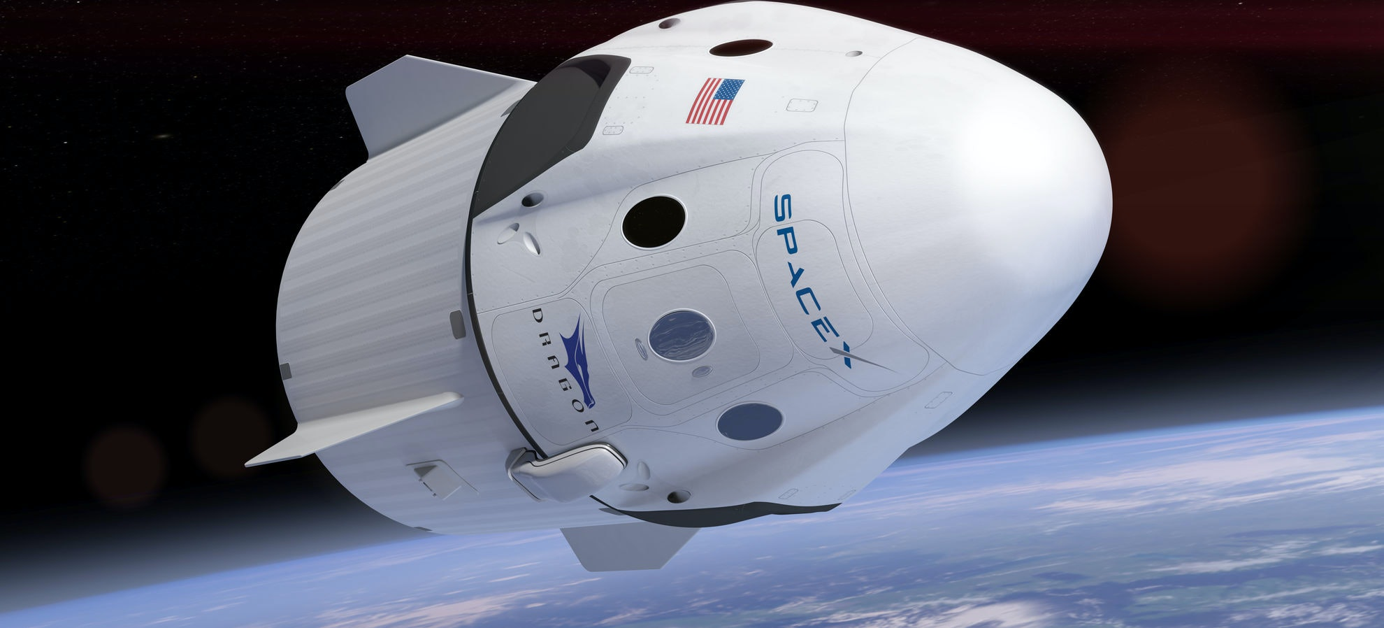 An artist's rendering of the SpaceX Crew Dragon.