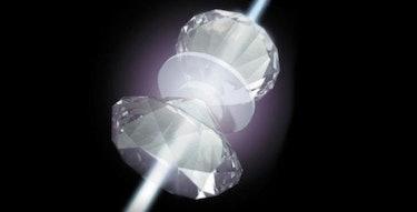 An artist's rendering of metallic hydrogen sandwiched in a diamond vise.