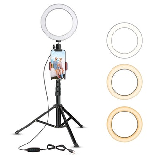 Ubeesize 8-Inch Selfie Ring Light with Tripod Stand