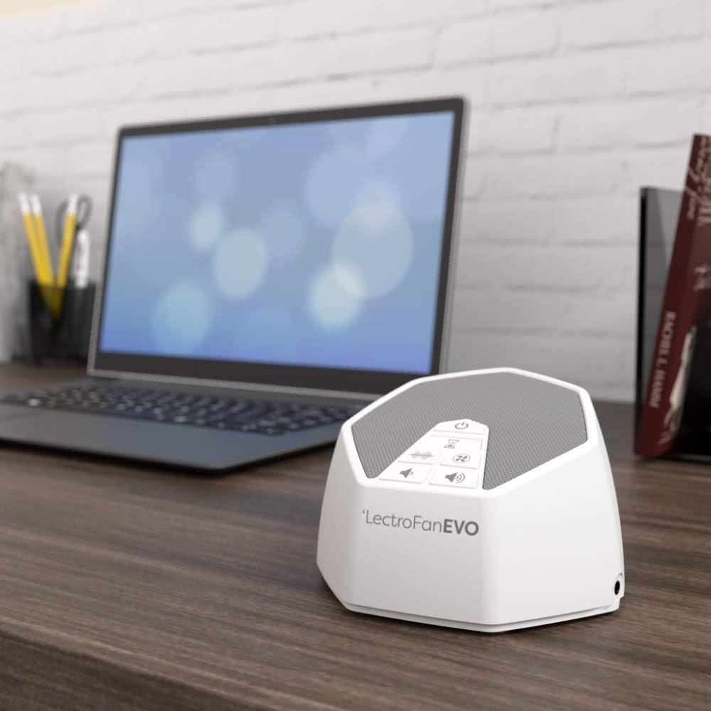 LectroFan EVO White Noise Machine on a desk
