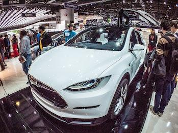 The Tesla Model X has a unique falcon wing door mechanism.